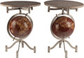 Furniture : American, A PAIR OF WINE TABLES WITH GLOBE BASES AND MARBLE TOPS, late 20thcentury. 26-3/4 inches high x 20-1/8 inches diameter (... (Total: 2Items)