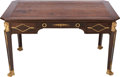 Furniture , AN EMPIRE-STYLE OAK, GILT BRONZE AND LEATHER WRITING TABLE, early 20th century. 29-1/4 x 51-1/4 x 29-1/2 inches ...