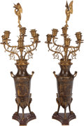 Decorative Arts, French:Lamps & Lighting, A PAIR OF FRENCH GILT AND PATINATED BRONZE SIX-LIGHT CANDELABRUM,Ferdinand Levillain, Paris, France, late 19th century. Mar...(Total: 2 Items)