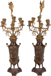 A PAIR OF FRENCH GILT AND PATINATED BRONZE SIX-LIGHT CANDELABRUM, Ferdinand Levillain, Paris, France, late 19th centu