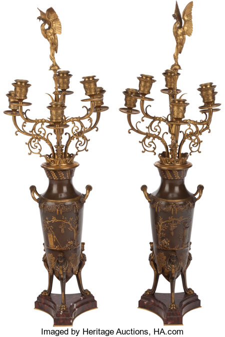 A PAIR OF FRENCH GILT AND PATINATED BRONZE SIX-LIGHT CANDELABRUM, Ferdinand Levillain, Paris, France, late 19th century Mar... (Total: 2 Items)