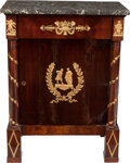 Furniture : French, A RUSSIAN EMPIRE-STYLE MAHOGANY AND GILT BRONZE CABINET WITH MARBLETOP, 19th century. 36 x 27-3/4 x 17-3/4 inches (91.4 x 7...
