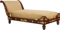Furniture : French, AN EMPIRE-STYLE MAHOGANY AND GILT BRONZE MOUNTED CHAISE LOUNGE,20th century. 33-1/2 x 35-1/2 x 74 inches (85.1 x 90.2 x 188...