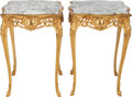 Furniture : French, A PAIR OF LOUIS XV-STYLE GILT BRONZE TABLES WITH MARBLE TOPS, 20thcentury. 28-1/2 x 20 x 20 inches (72.4 x 50.8 x 50.8 cm)... (Total:2 Items)