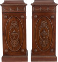Furniture : American, A PAIR OF GEORGIAN-STYLE MAHOGANY PEDESTAL CABINETS, 20th century.43 x 18-1/2 x 18-1/2 inches (109.2 x 47.0 x 47.0 cm). ... (Total: 2Items)