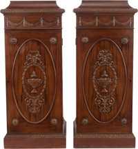 A PAIR OF GEORGIAN-STYLE MAHOGANY PEDESTAL CABINETS, 20th century 43 x 18-1/2 x 18-1/2 inches (109.2 x 47.0 x 47.0