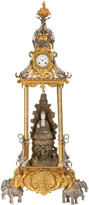 A LARGE FRENCH SILVERED, GILT BRONZE AND PORCELAIN CHINOISERIE CLOCK, Simiand, Paris, France, late 19th century Ma