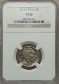 1913-S 5C Type Two VF20 NGC. NGC Census: (41/1291). PCGS Population (46/2089). Mintage: 1,209,000. Numismedia Wsl. Price...