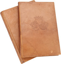 TWO SPANISH LEATHER BOUND FOLIOS OF BOTANICAL PRINTS 21 x 14-1/2 x 1-3/4 inches (53.3 x 36.8 x 4.4 cm)