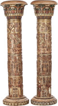 Miscellaneous, A PAIR OF EGYPTIAN REVIVAL RESIN ARCHITECTURAL COLUMNS, 20thcentury. 77 x 22 x 22 inches (195.6 x 55.9 x 55.9 cm). ... (Total:2 Items)