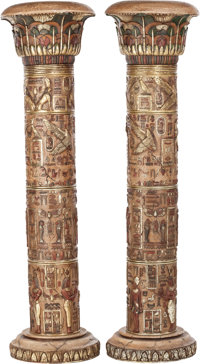 A PAIR OF EGYPTIAN REVIVAL RESIN ARCHITECTURAL COLUMNS, 20th century 77 x 22 x 22 inches (195.6 x 55.9 x 55.9 cm)