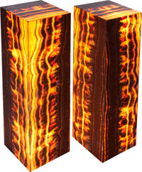 A PAIR OF HARDSTONE PEDESTAL FLOOR LAMPS, 20th century 43-1/2 x 11-3/4 x 11-3/4 inches (110.5 x 29.8 x 29.8 cm)