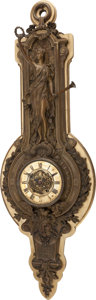 Decorative Arts, French, A PATINATED BRONZE AND CARVED PARCEL GILT WOOD FIGURAL WALL CLOCK,19th century. 50 x 16 x 6 inches (127 x 40.6 x 15.2 cm). ...