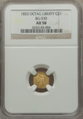 California Fractional Gold: , 1853 $1 Liberty Octagonal 1 Dollar, BG-530, R.2, AU58 NGC. NGCCensus: (32/58). PCGS Population (103/94). ...