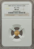 California Fractional Gold: , 1880 25C Indian Octagonal 25 Cents, BG-799J, R.3, MS63 NGC. NGCCensus: (2/16). PCGS Population (27/84). ...