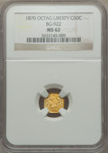California Fractional Gold: , 1870 50C Liberty Octagonal 50 Cents, BG-922, R.3, MS62 NGC. NGCCensus: (9/4). PCGS Population (39/31). ...