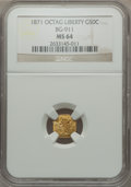 California Fractional Gold: , 1871 50C Liberty Octagonal 50 Cents, BG-911, R.4, MS64 NGC. NGCCensus: (8/10). PCGS Population (22/18). ...