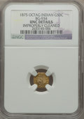 California Fractional Gold: , 1875 50C Indian Octagonal 50 Cents, BG-934, R.4, -- ImproperlyCleaned -- NGC Details. Unc. NGC Census: (0/9). PCGS Populat...