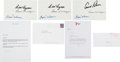 Golf Collectibles:Autographs, Two Signed Ben Hogan Letters And Three Autographed Cards....