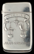 Silver Smalls:Match Safes, A GORHAM SILVER MATCH SAFE, Providence, Rhode Island, circa 1893.Marks: (lion-anchor-G), STERLING CO.. 2-1/4 inches hig...