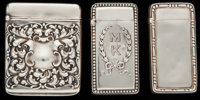 THREE GORHAM SILVER MATCH SAFES, Providence, Rhode Island, circa 1895-1898 Marks: (lion-anchor-G), STERLING, 11