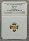 California Fractional Gold: , 1870 50C Liberty Round 50 Cents, BG-1010, R.3, MS63 NGC. NGCCensus: (3/18). PCGS Population (30/62). ...