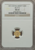 California Fractional Gold: , 1872 50C Liberty Octagonal 50 Cents, BG-913, R.4, MS64 NGC. NGCCensus: (4/7). PCGS Population (20/21). ...