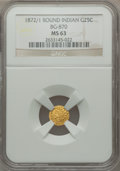 California Fractional Gold: , 1872/1 25C Indian Round 25 Cents, BG-870, R.3, MS63 NGC. NGCCensus: (8/14). PCGS Population (83/90). ...