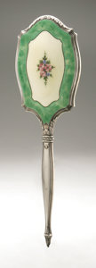Silver Holloware, American:Mirrors and Vanity-related , An American Silver And Enamel Hand Mirror. Maker unknown, EarlyTwentieth Century. Marked on the front STERLING. 1...