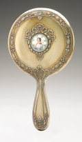 Silver Holloware, American:Mirrors and Vanity-related , An American Silver Hand Mirror And Brush. Gorham, Providence, RI,1896. Gilt finish, hallmark with STERLING 377. T... (Total:2 Items)