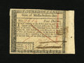 Colonial Notes:Massachusetts, Massachusetts May 5, 1780 $4 Extremely Fine-About New. A small holeis noticed in the right-hand selvedge of this ink cancel...