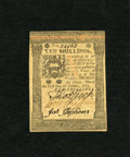 Colonial Notes:Pennsylvania, Pennsylvania October 1, 1773 10s Choice About New. A couple ofminor corner folds are detected on this attractive note that ...