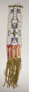 Paintings, A SIOUX PICTORIAL BEADED HIDE TOBACCO BAG. . c. 1890. ...