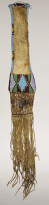 American Indian Art:Beadwork, A SIOUX BEADED HIDE TOBACCO BAG. . c. 1865. ...