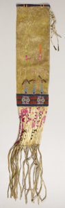 American Indian Art:Beadwork, A MANDAN/HIDATSA BEADED BUFFALO HIDE TOBACCO BAG. . c. 1860. ...
