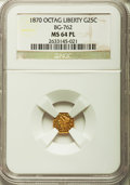 California Fractional Gold: , 1870 25C Liberty Octagonal 25 Cents, BG-762, Low R.4, MS64Prooflike NGC. NGC Census: (3/0). ...