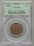 Two Cent Pieces: , 1865 2C MS64 Red and Brown PCGS. PCGS Population (629/294). NGCCensus: (354/423). Mintage: 13,640,000. Numismedia Wsl. Pri...