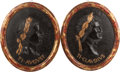 Decorative Arts, Continental:Other , A PAIR OF NEOCLASSICAL RESIN AND WOOD PORTRAIT PLAQUES OF ROMANEMPERORS, 20th century. 27-1/2 inches high x 24 inches wide ...(Total: 2 Items)