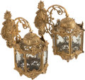 Decorative Arts, French:Lamps & Lighting, A PAIR OF FRENCH ROCOCO-STYLE GILT BRONZE WALL LANTERNS, early 20thcentury. 16 x 16 x 8-1/2 inches (40.6 x 40.6 x 21.6 cm)... (Total:2 Items)