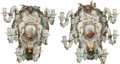 Decorative Arts, French:Lamps & Lighting, A PAIR OF SÉVRES-STYLE PORCELAIN SIX-LIGHT WALL SCONCES. 20 x12-1/2 x 11 inches (50.8 x 31.8 x 27.9 cm). ... (Total: 2 Items)