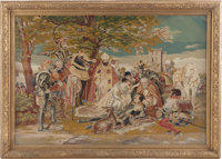 A LARGE CONTINENTAL NEEDLEPOINT TAPESTRY, 19th century 44 x 63 x 4 inches (111.8 x 160.0 x 10.2 cm) (including fra
