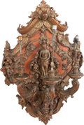 Decorative Arts, Continental:Lamps & Lighting, A PAIR OF ITALIAN BAROQUE-STYLE CARVED WOOD THREE-LIGHT WALLSCONCES, 19th century. 38 x 24 x 16 inches (96.5 x 61.0 x 40.6 ...(Total: 2 Items)