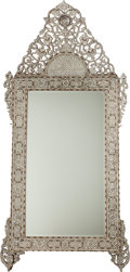 Decorative Arts, Continental:Other , A SYRIAN OAK AND INLAID MOTHER OF PEARL MIRROR, 19th century. 98 x45 x 6 inches (248.9 x 114.3 x 15.2 cm). ... (Total: 2 Items)