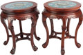 Asian:Chinese, A PAIR OF CHINESE CLOISONNÉ AND MAHOGANY SIDE TABLES. 20 incheshigh x 16 inches diameter (50.8 x 40.6 cm). ... (Total: 2 Items)