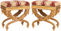 Furniture , A PAIR OF UPHOLSTERED GILT WOOD CURULE STOOLS, 20th century. 19 x 18-1/8 x 12 inches (48.3 x 46.0 x 30.5 cm). ... (Total: 2 Items)