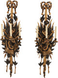 Lighting:Sconces, A PAIR OF MILITARY TROPHY TWO-LIGHT WALL SCONCES, circa 1900. 48 inches high (121.9 cm). ... (Total: 2 Items)