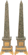Decorative Arts, Continental:Other , A PAIR OF MARBLE AND GILT BRONZE OBELISKS, 20th century. 34-1/2inches high (87.6 cm). ... (Total: 2 Items)