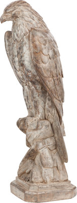 A CARVED MARBLE EAGLE, circa 1900 32 x 9-1/2 x 9-1/2 inches (81.3 x 24.1 x 24.1 cm)