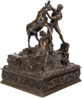 Bronze:European, ITALIAN SCHOOL (Late 19th Century). Wrestling the Bull (after The Farnese Bull). Bronze with partial gilt. 25 inches...