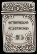 Silver Smalls:Match Safes, A SHREVE & CO. SILVER ADVERTISING MATCH SAFE, San Francisco,California, circa 1903. Marks: SHREVE & CO., STERLING.2-1/...